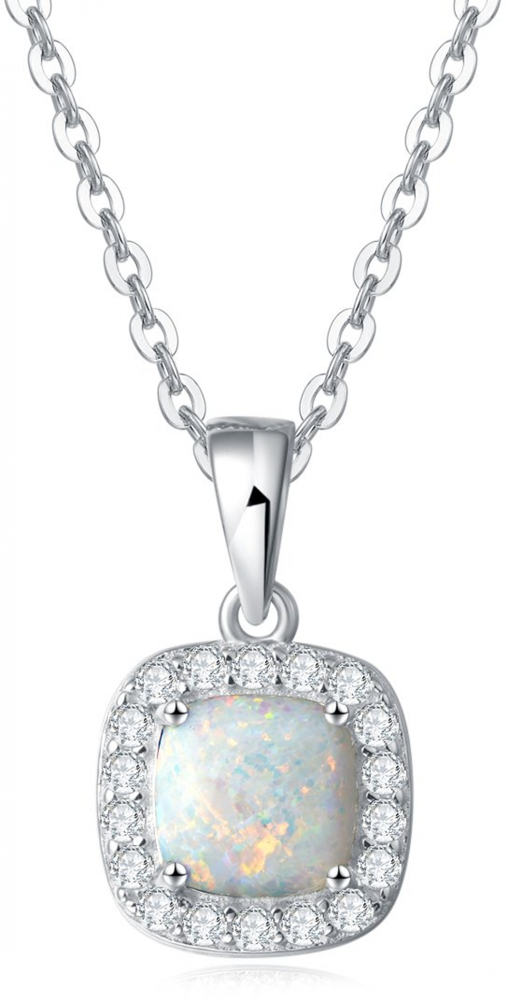 Details About White Gold Plated Sterling Silver Cz Square Created Opal Halo  Pendant Necklace Throughout Newest Square Sparkle Halo Necklaces (Gallery 10 of 25)