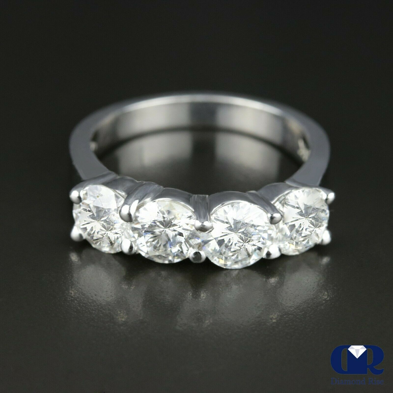 """Details About Women's 2.00 Ct 4 Stone Diamond Wedding Band Anniversary Ring  14K White Gold Throughout 2019 Diamond Accent Five Stone """"s"""" Anniversary Bands In White Gold (Gallery 7 of 25)"""