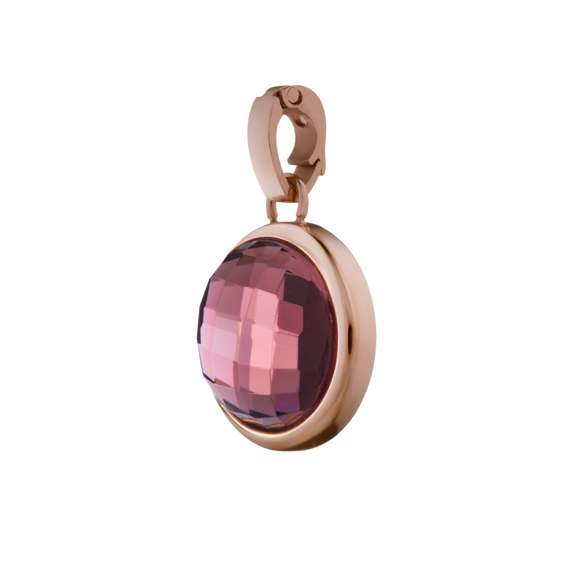 Devotion Signature Pendant Rose Gold, Purple Glass Pertaining To Most Up To Date Purple February Birthstone Locket Element Necklaces (View 11 of 25)