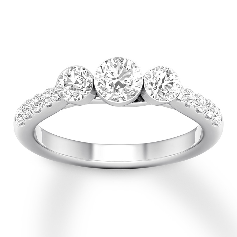 Diamond 3 Stone Ring 1 Ct Tw Round 14k White Gold Intended For Most Popular Clear Three Stone Rings (View 10 of 25)
