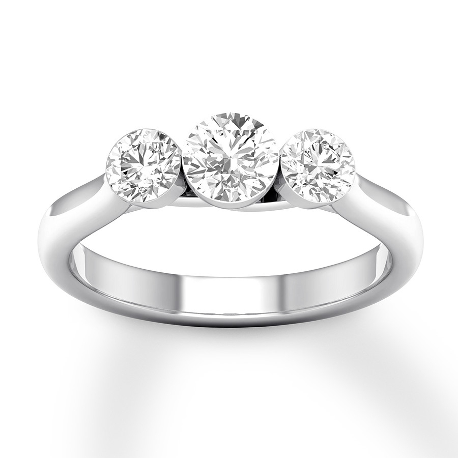 Diamond 3 Stone Ring 1 Ct Tw Round 14K White Gold With 2018 Clear Three Stone Rings (Gallery 19 of 25)