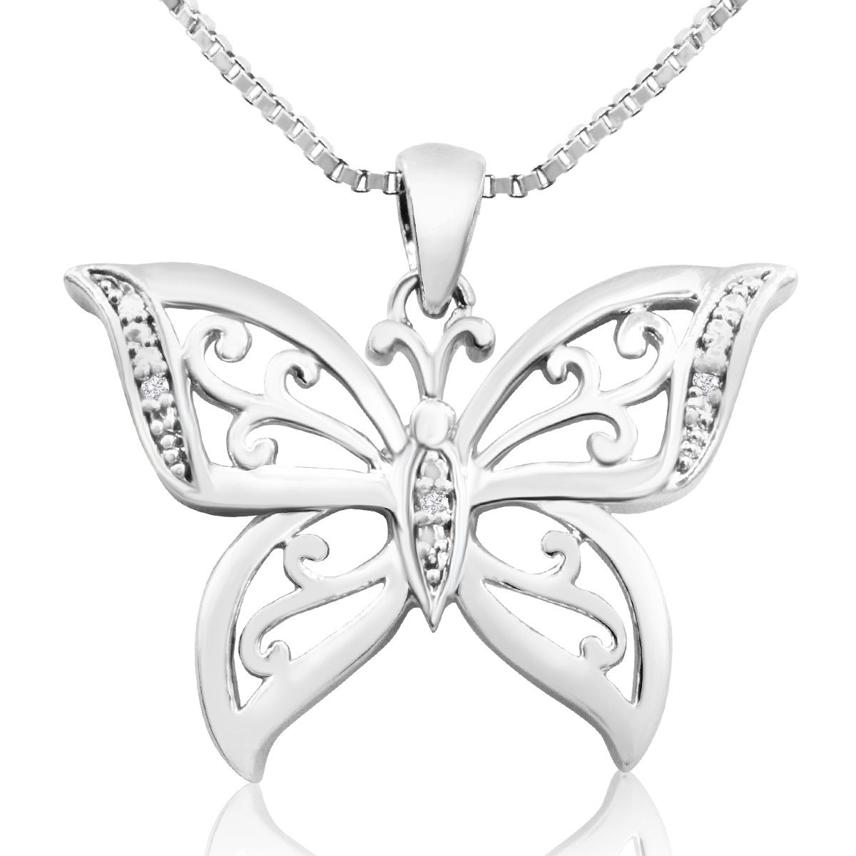 Diamond Accent Butterfly Necklace, 18 Inches | Superjeweler With Regard To Best And Newest Sparkling Butterfly Y  Necklaces (View 12 of 25)