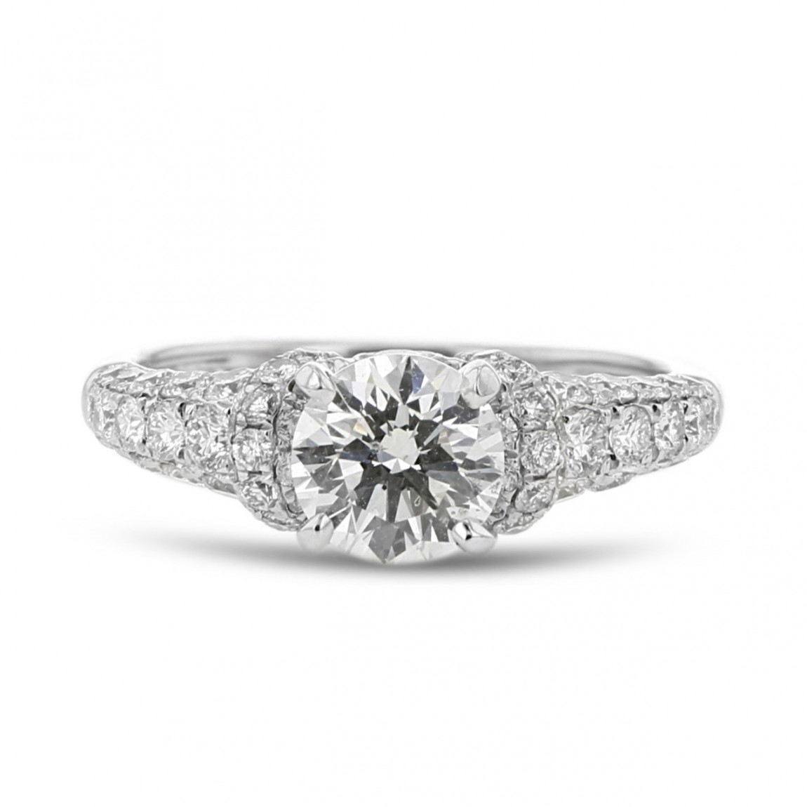 Diamond Accent Engagement Ring, Round, 14K White Gold, .97Ct, .91Tdw Within Most Recent Enhanced Black And White Diamond Three Row Anniversary Bands In White Gold (Gallery 20 of 25)