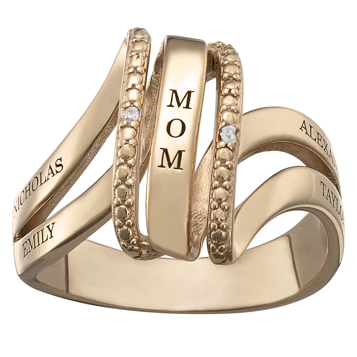 """Diamond Accent """"mom"""" Linear Swirl Split Shank Ring In Sterling Silver With  18K Gold Plate (2 4 Names) Zales Intended For Most Up To Date Diamond Accent Anniversary Bands In Sterling Silver (View 4 of 25)"""