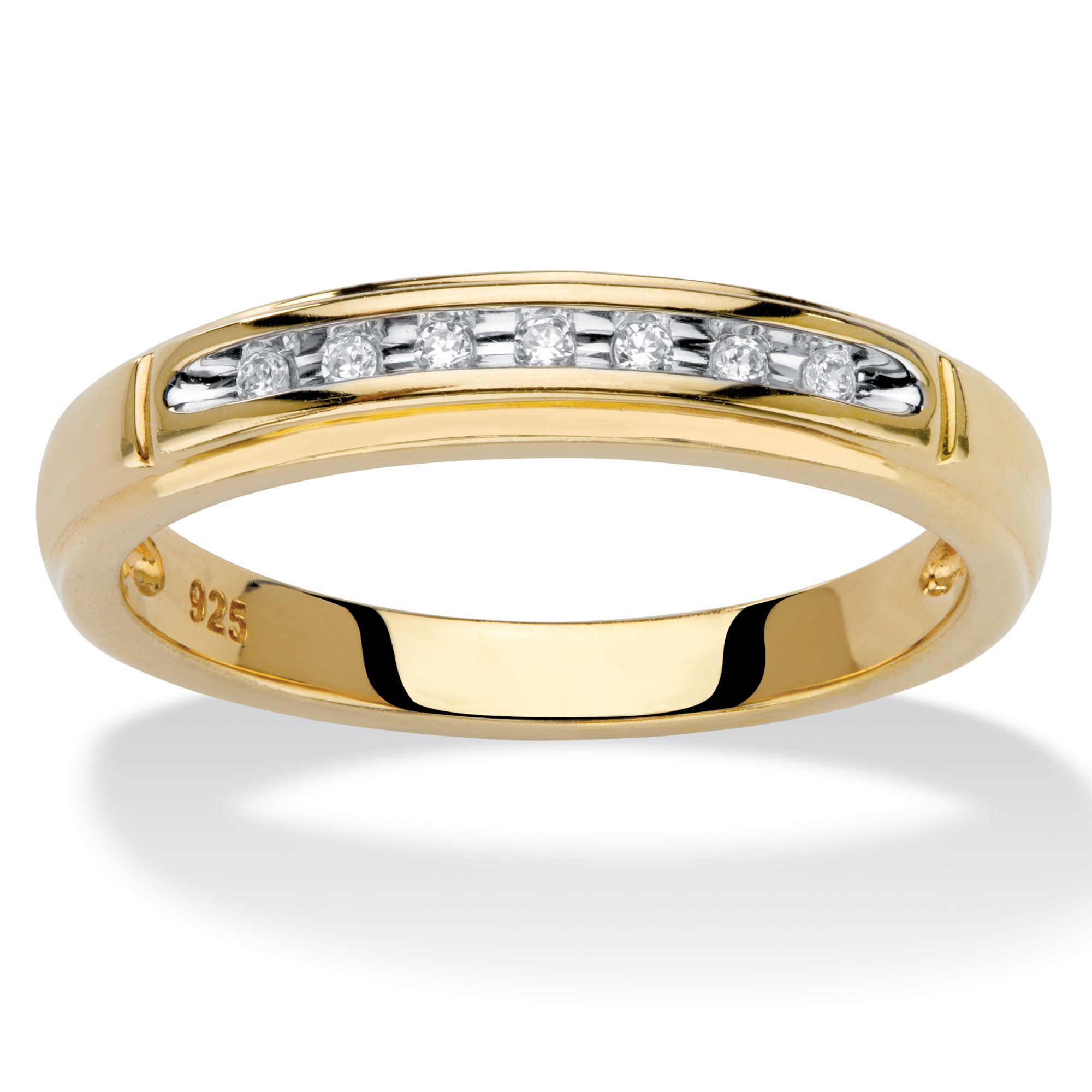 Diamond Accent Single Row Wedding Band In 18k Gold Over Within 2020 Diamond Two Row Anniversary Bands In Sterling Silver (View 15 of 25)