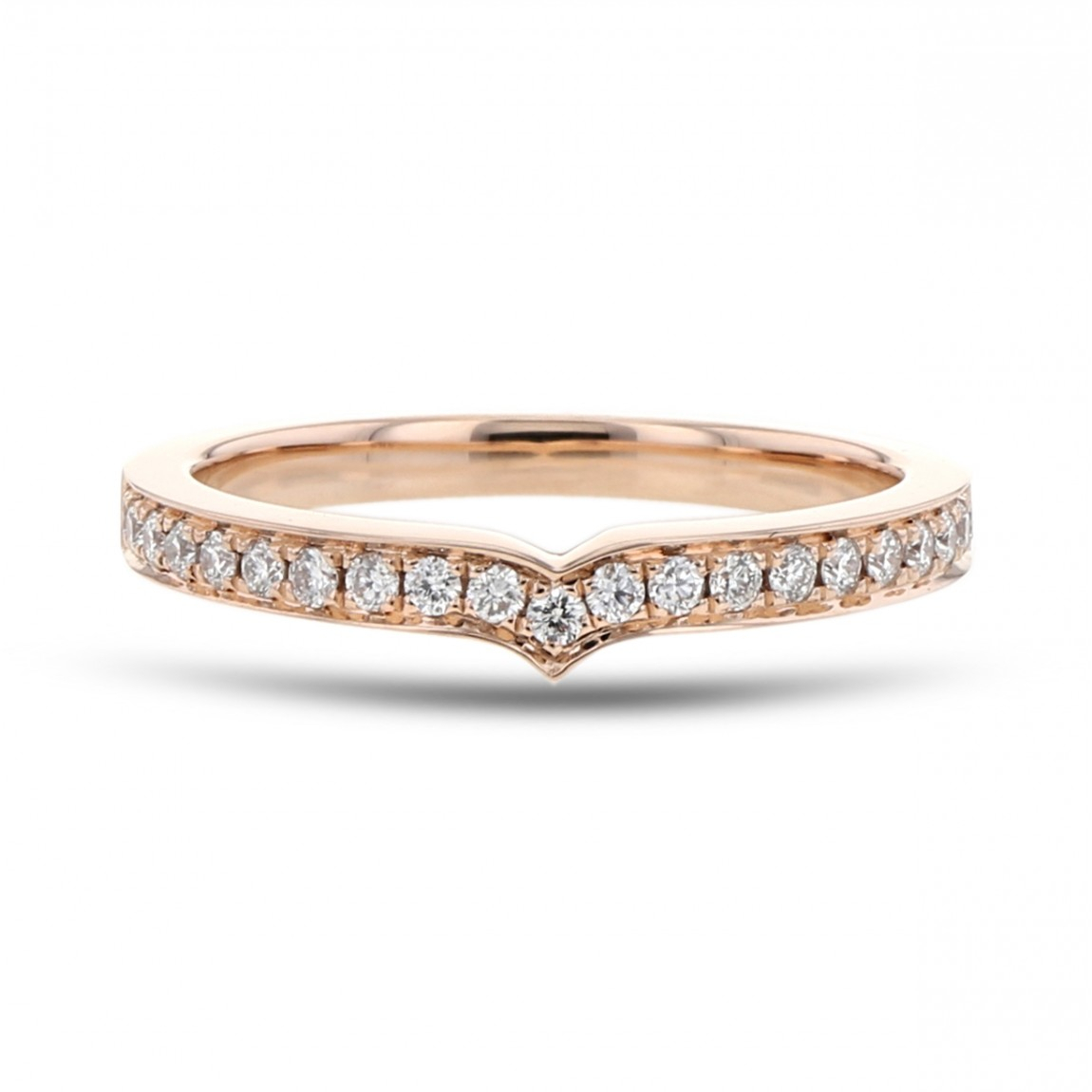 Diamond Accent 'v' Band, 14K Rose Gold,  (View 13 of 25)