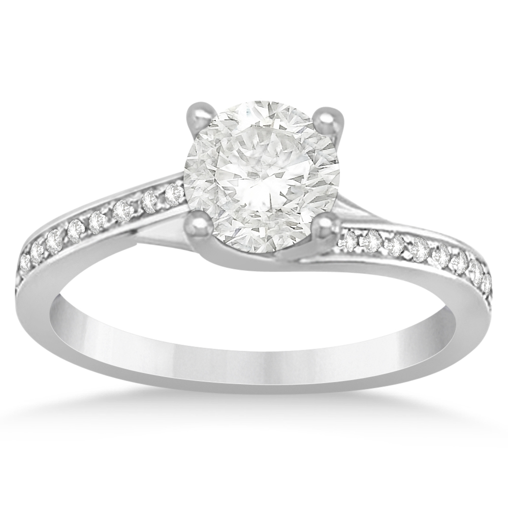 Diamond Accented Twisted Engagement Ring 14K White Gold ( (View 6 of 25)