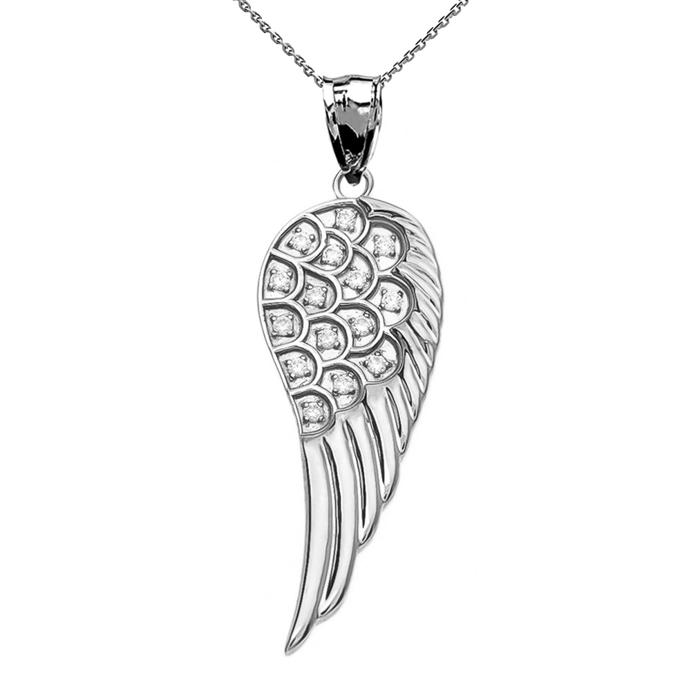 Diamond Angel Wing Pendant Necklace In 9Ct White Gold Regarding Most Up To Date Angel Wing Pendant Necklaces (View 12 of 25)