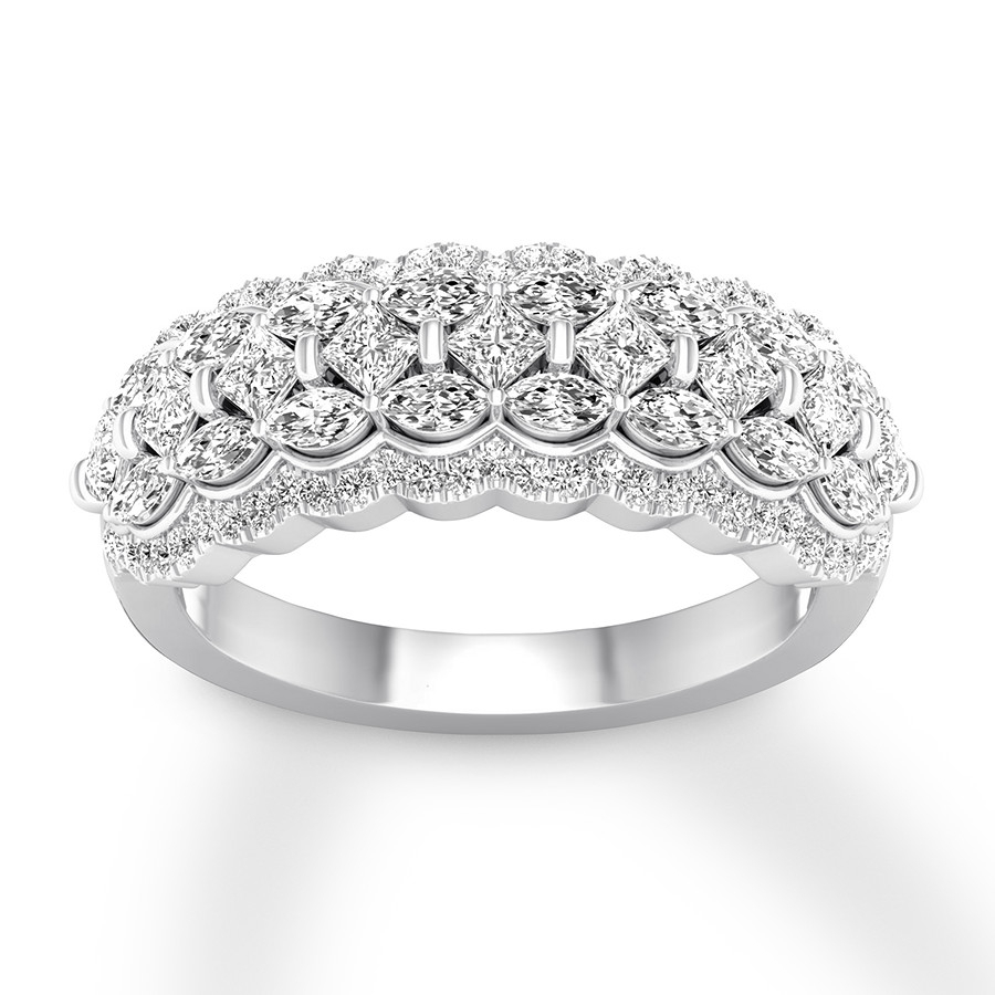 Diamond Anniversary Band 1 1/4 Carat Tw 14K White Gold Throughout Latest Elegant Pavé Band Rings (View 8 of 25)