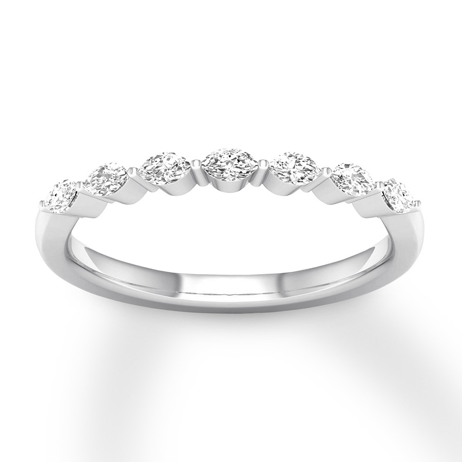Diamond Anniversary Band 1/5 Ct Tw Marquise 14k White Gold For Most Recent Simple Sparkling Band Rings (View 24 of 25)