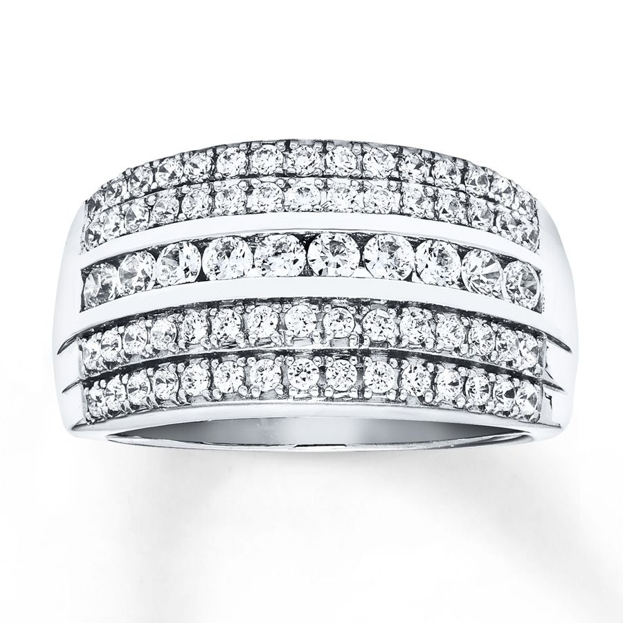 Diamond Anniversary Ring 1 Ct Tw Round Cut 14k White Gold Regarding Current Baguette And Round Diamond Multi Row Anniversary Ring In White Gold (View 4 of 25)