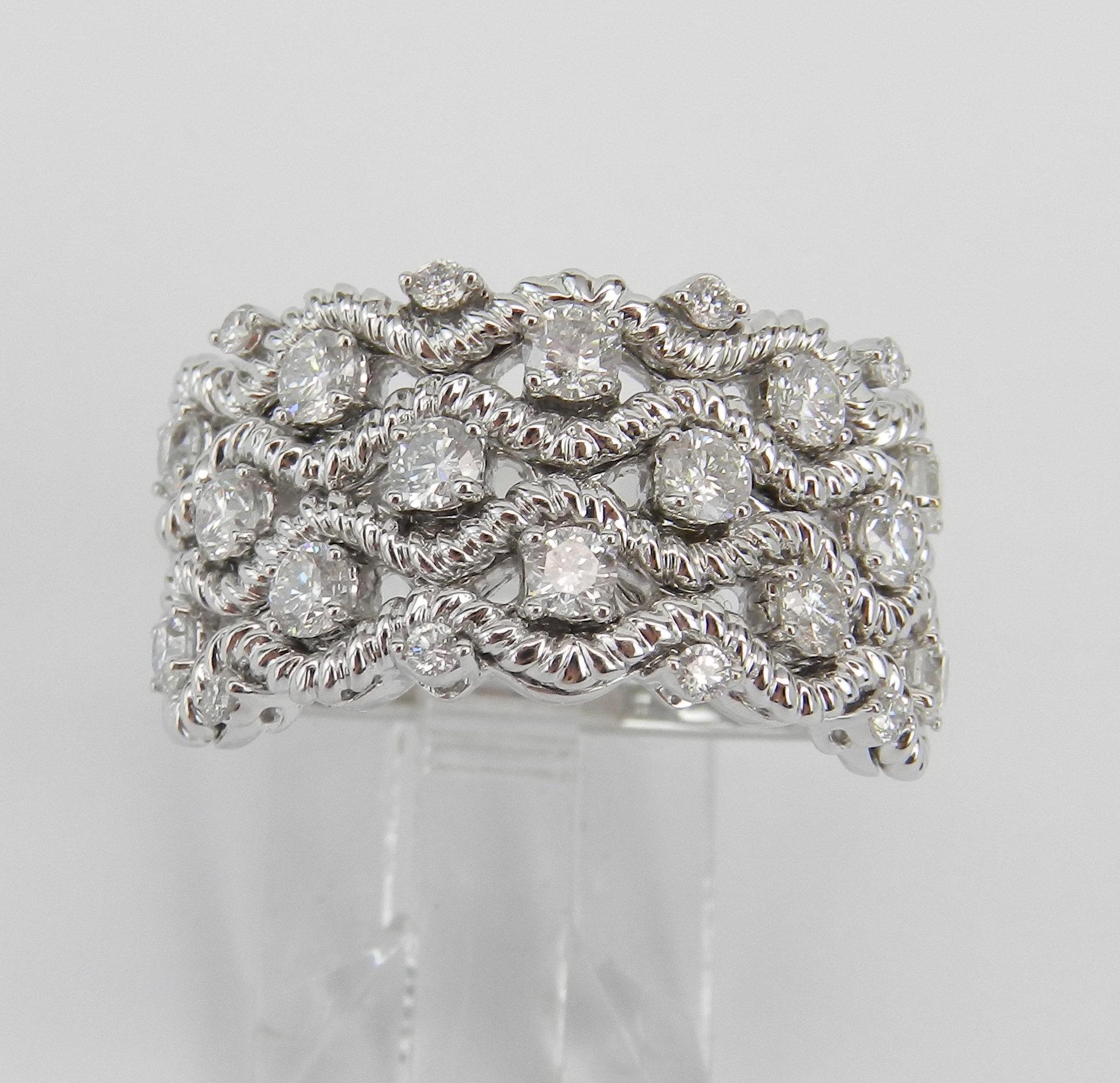 Diamond Anniversary Ring, White Gold Diamond Multi Row With Regard To Most Popular Diamond Multi Row Anniversary Bands In White Gold (Gallery 3 of 25)