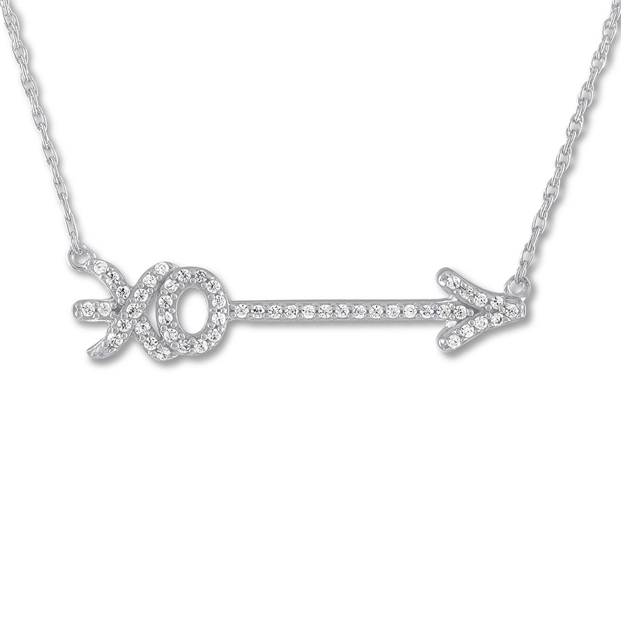 "Diamond Arrow ""xo"" Necklace 1/8 Ct Tw Sterling Silver Pertaining To Latest Sparkling Arrow Necklaces (View 10 of 25)"