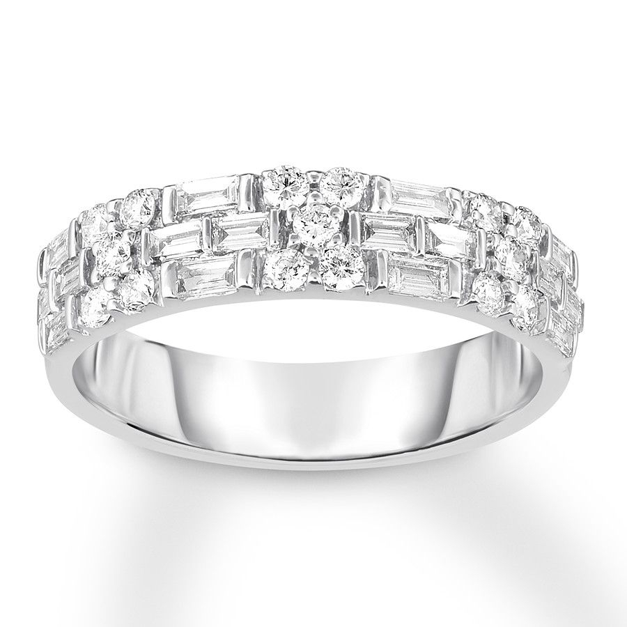 Diamond Band 3/4 Ct Tw Round/baguette 14k White Gold In 2019 Intended For Most Recent Baguette And Round Diamond Alternating Vintage Style Anniversary Bands In White Gold (View 6 of 25)