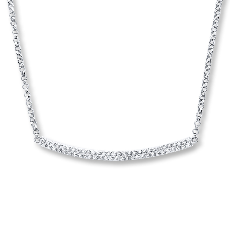 Diamond Bar Necklace 1/3 Ct Tw Round Cut 14K White Gold Throughout Most Recent Sparkling Curved Bar Necklaces (Gallery 21 of 25)