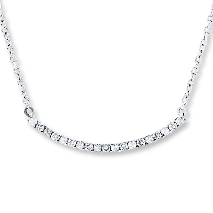 Diamond Bar Necklace Sterling Silver Pertaining To Recent Sparkling Curved Bar Necklaces (View 17 of 25)