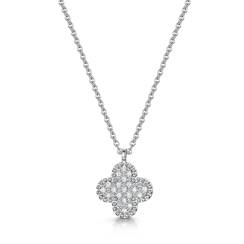 Diamond Beaded Flower Pave Necklace  (View 8 of 25)
