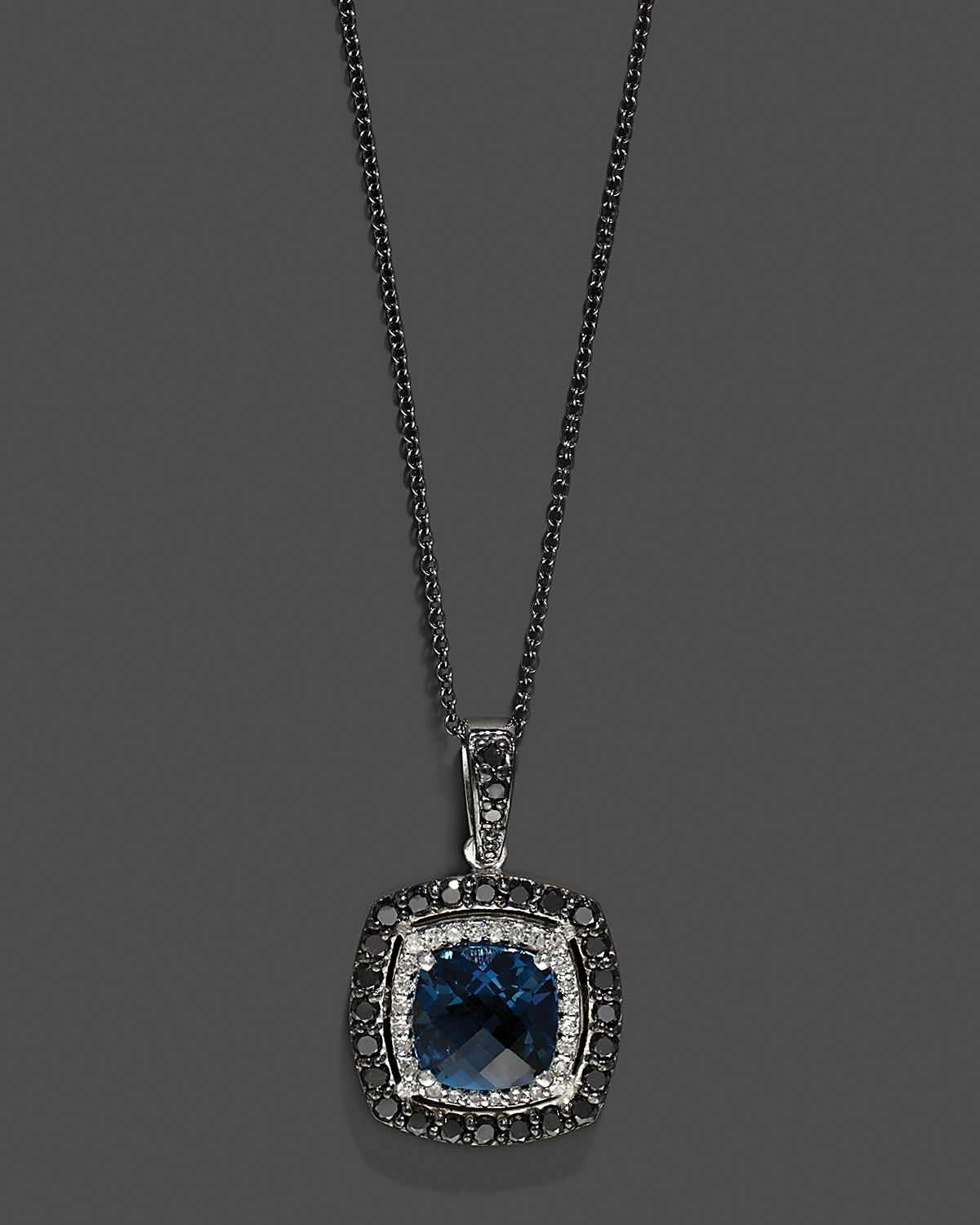 Diamond, Black Diamond And London Blue Topaz Pendant In 14K White With Regard To Best And Newest London Blue Crystal December Droplet Pendant Necklaces (Gallery 19 of 25)