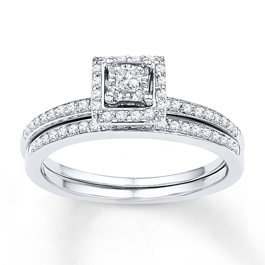 Diamond Bridal Set 1/4 Ct Tw Princess Cut 10K White Gold Pertaining To Most Up To Date Diamond Frame Anniversary Bands In Gold (View 8 of 25)