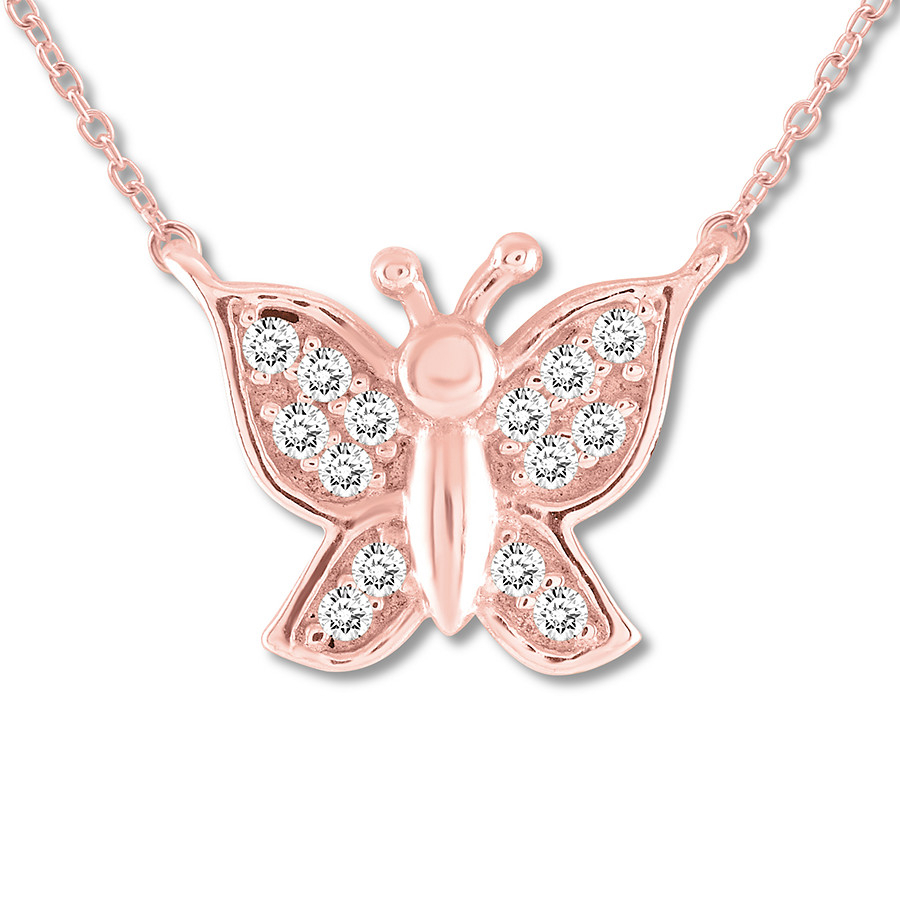 Diamond Butterfly Necklace 1/15 Ct Tw Round Cut 10K Rose Gold Throughout Most Current Pink Butterfly Locket Element Necklaces (View 8 of 25)