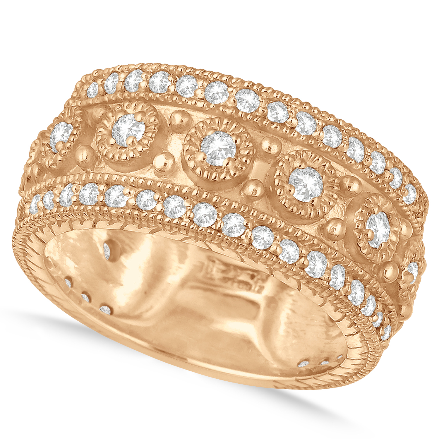 Diamond Byzantine Vintage Anniversary Band 14K Rose Gold (1.15Ct) For Best And Newest Diamond Vintage Style Anniversary Bands In Gold (Gallery 20 of 25)