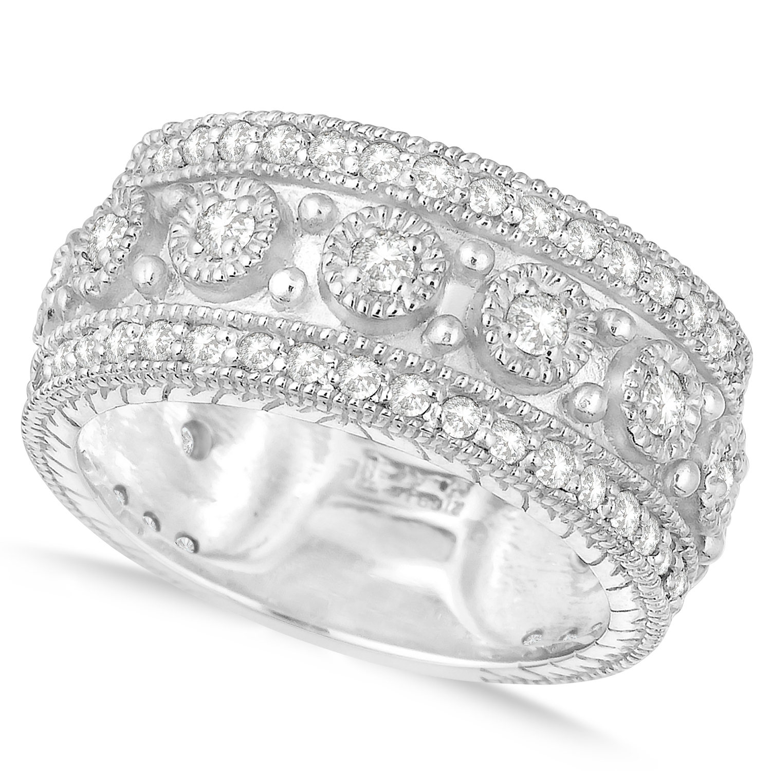 Diamond Byzantine Vintage Anniversary Band 14K White Gold (1.15Ct) Inside 2019 Diamond Five Stone Swirl Anniversary Bands In White Gold (Gallery 17 of 25)