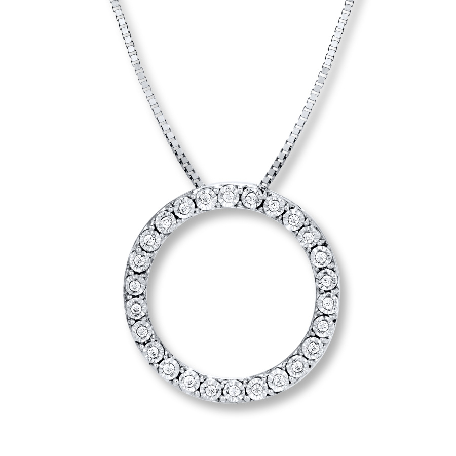 Diamond Circle Necklace 1/20 Ct Tw Round Cut Sterling Silver Within Most Up To Date Square Sparkle Halo Pendant Necklaces (View 13 of 25)