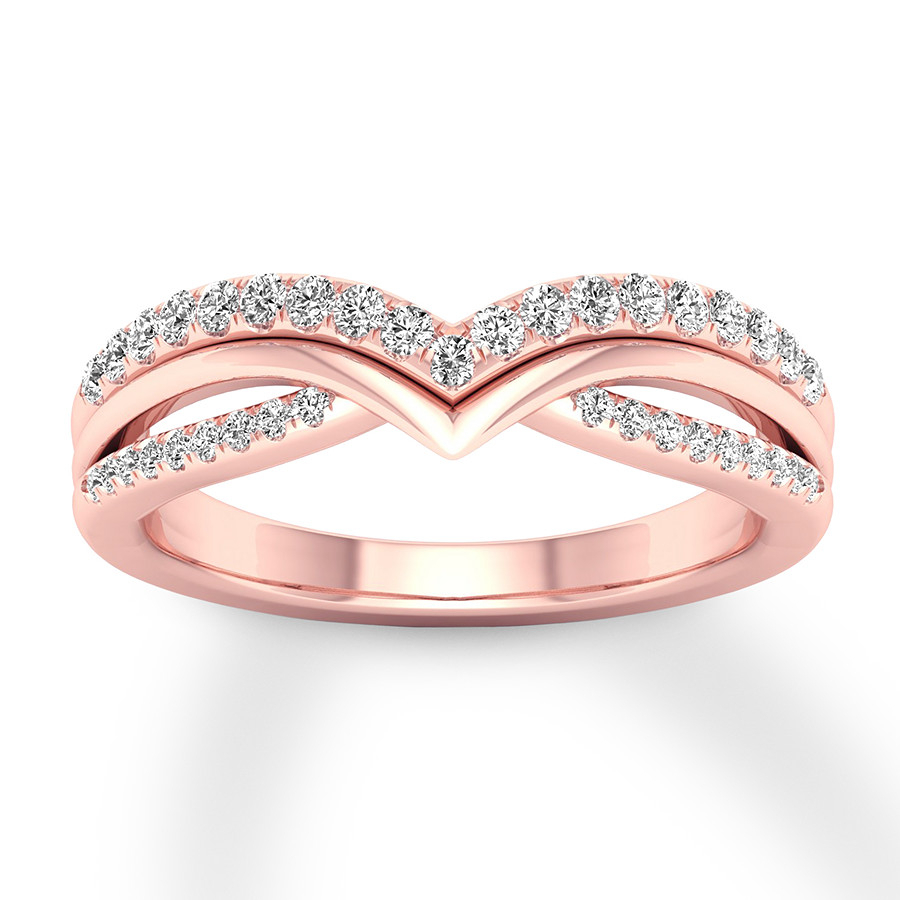 Diamond Contour Ring 1/3 Carat Tw Round 10k Rose Gold Pertaining To Most Current Sparkling Pavé Band Rings (View 18 of 25)