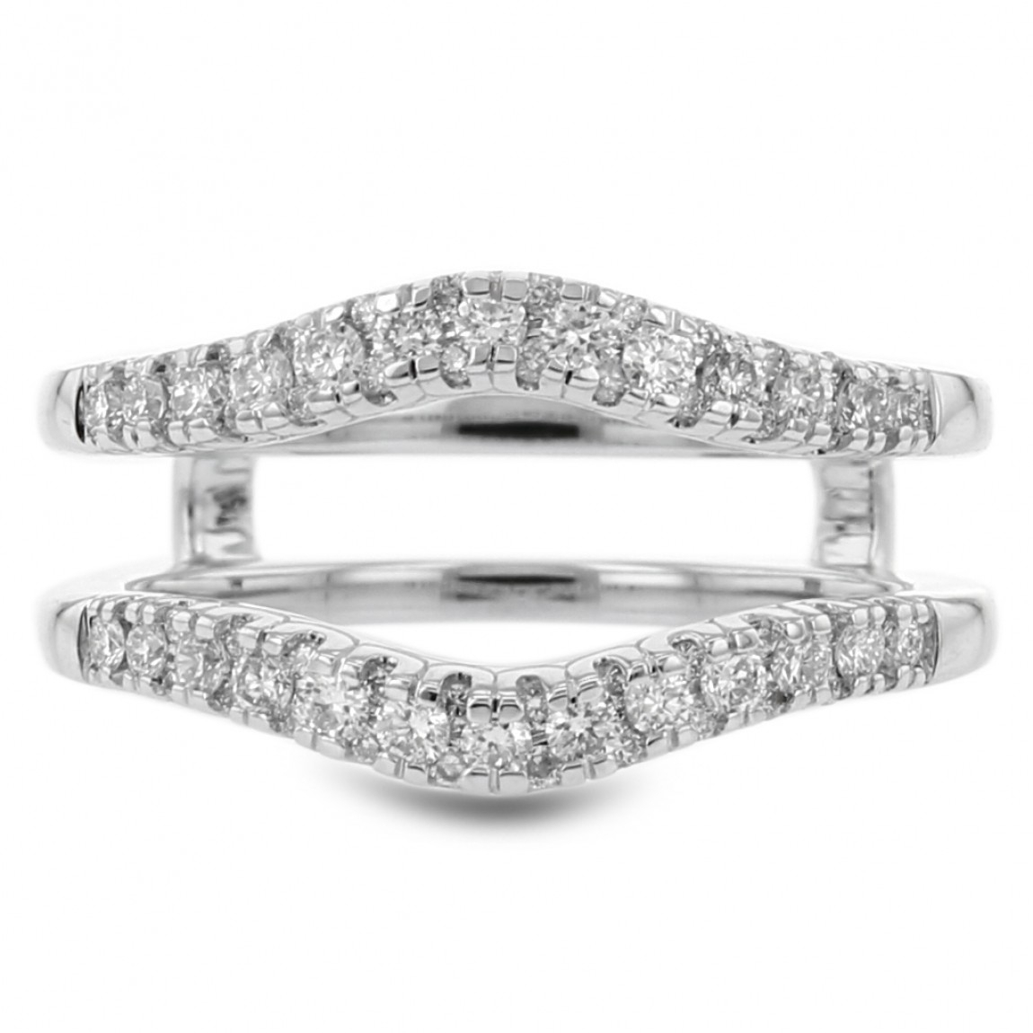 Diamond Cradle Wedding Band, Curved Pavé, 14K White Gold,  (View 9 of 25)