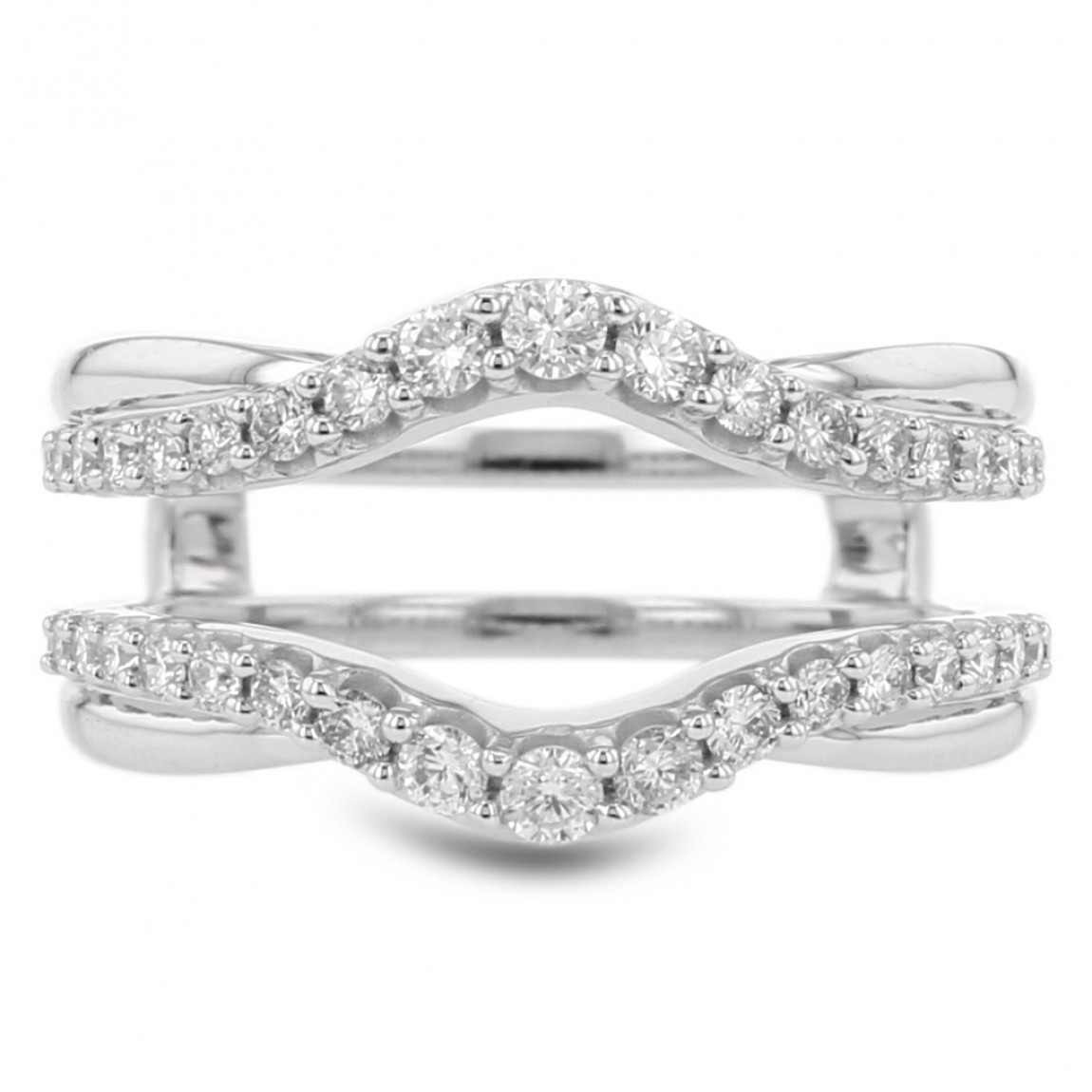 Diamond Cradle Wedding Band, Enhancer Ring, Curved, 14k White Gold, (View 17 of 25)