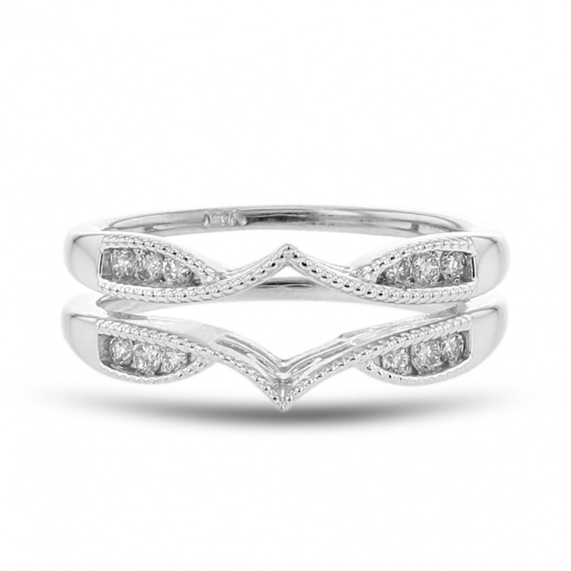 Diamond Cradle Wedding Band, Milgrain, 14K White Gold,  (View 7 of 25)