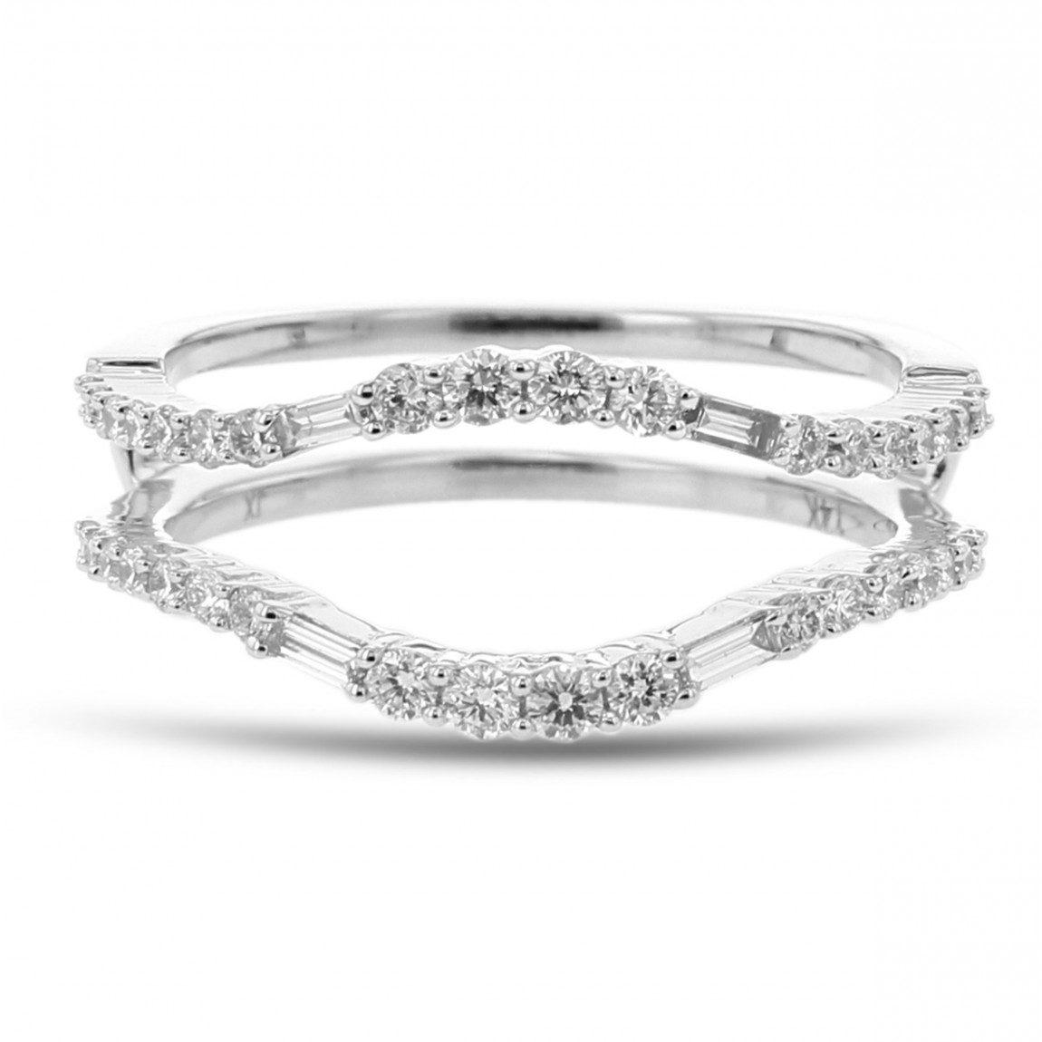 Diamond Cradle Wedding Band, Ring Enhancer, Baguette And Round, 14k White Gold, (View 7 of 25)
