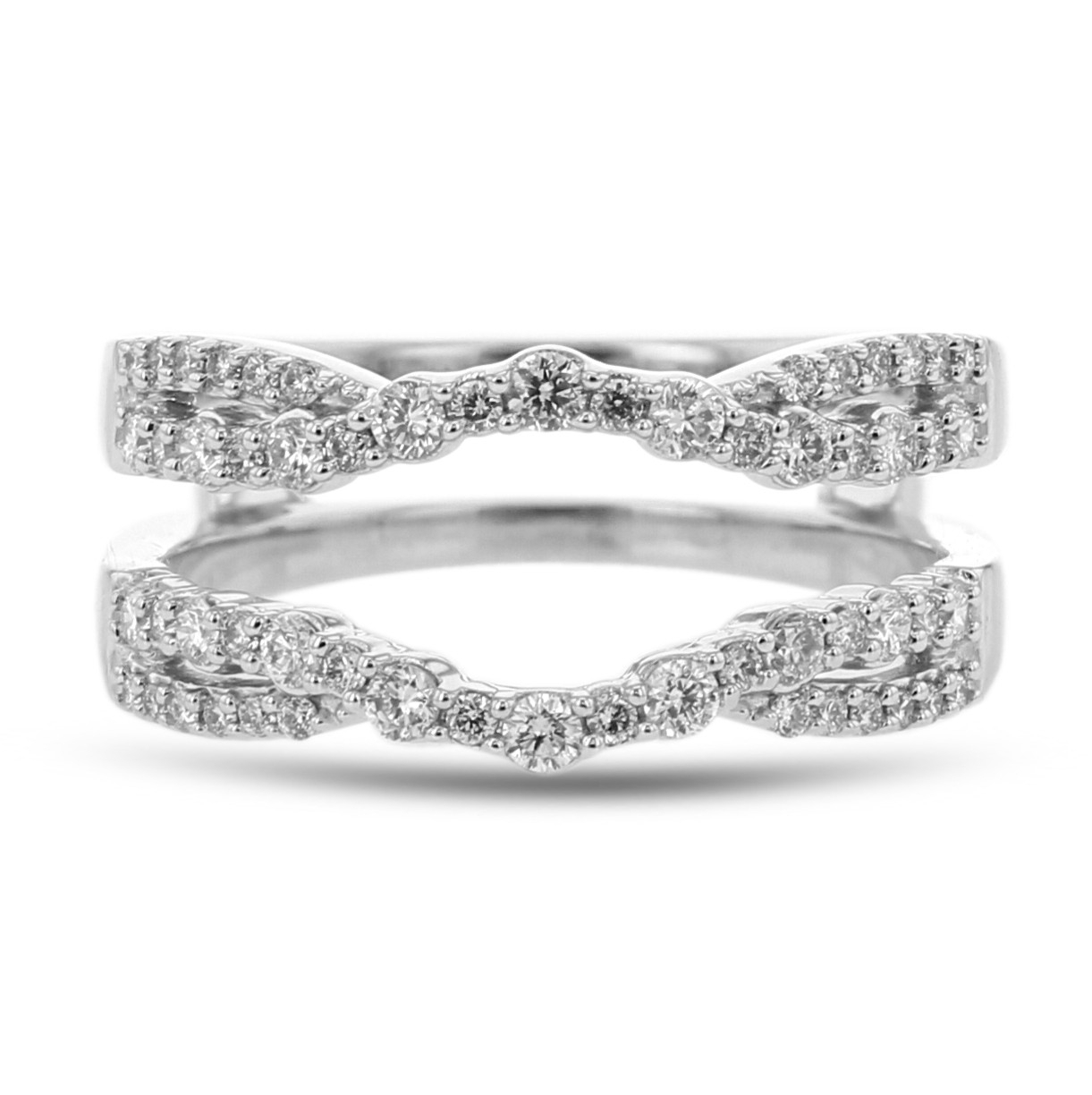 Diamond Cradle Wedding Band, Ring Enhancer, Curved Twist, 14k White Gold, (View 6 of 25)