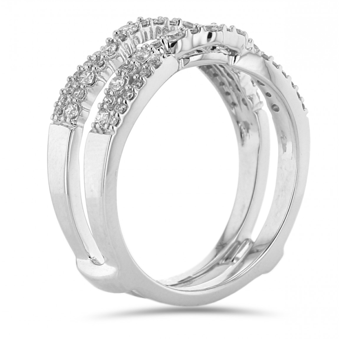 Diamond Cradle Wedding Band, Ring Enhancer, Curved Twist, 14K White Gold,   (View 5 of 25)