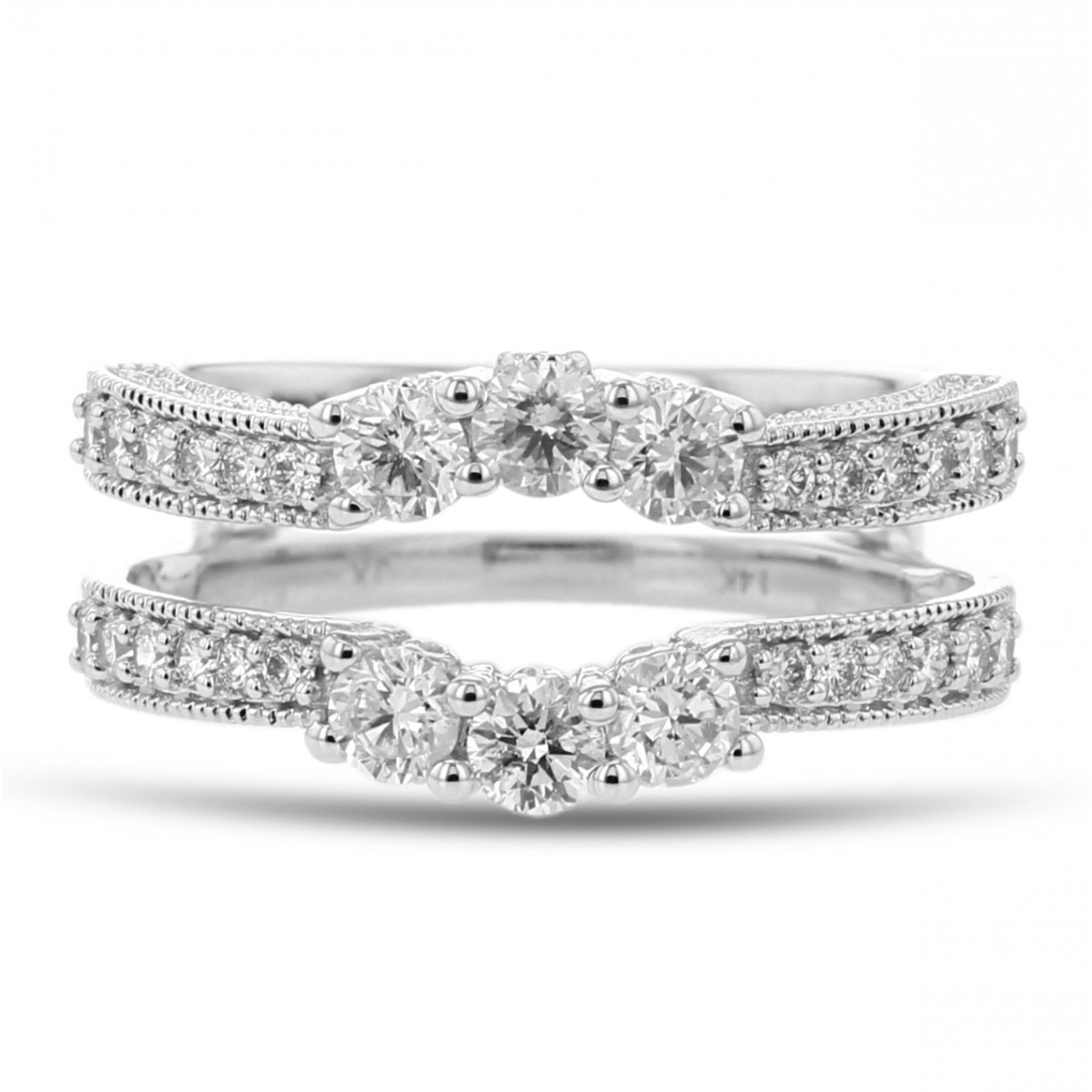 Diamond Cradle Wedding Band, Ring Enhancer, Milgrain Trio, 14k White Gold, (View 6 of 25)