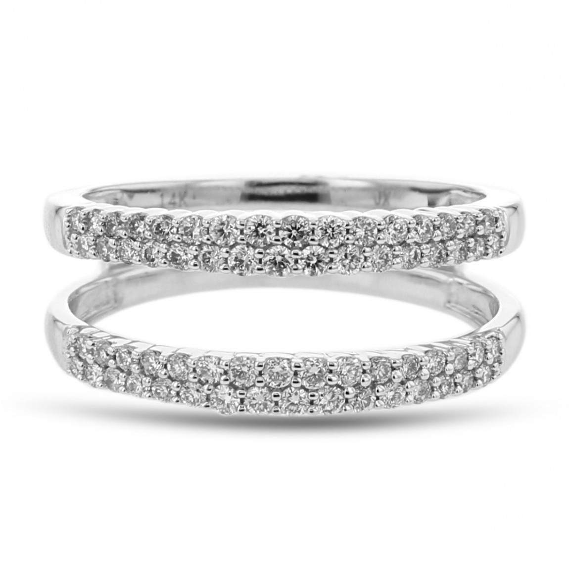 Diamond Cradle Wedding Band, Ring Enhancer, Pavé Lines, 14K White Gold,   (View 9 of 25)