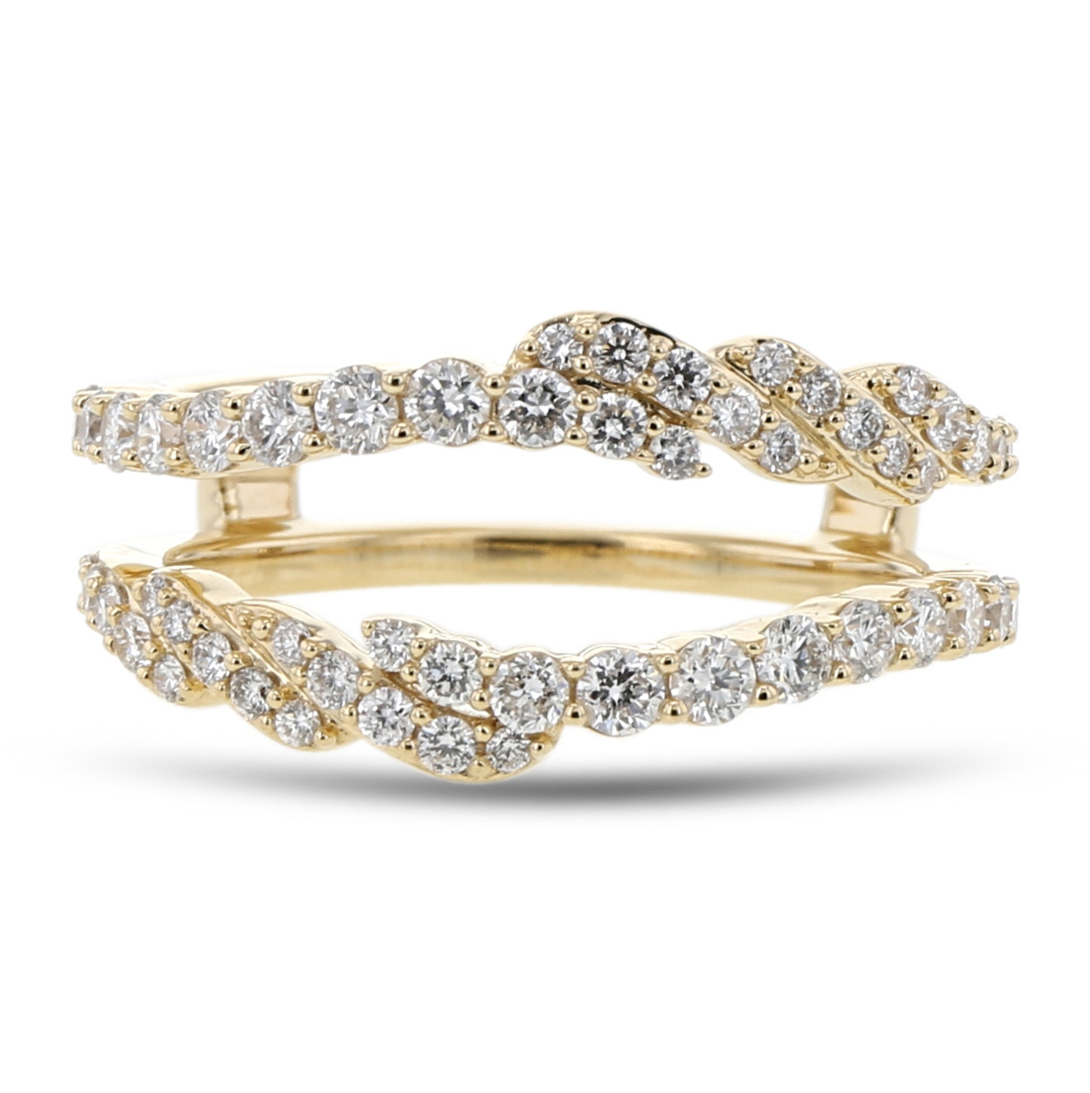 Diamond Cradle Wedding Band, Ring Enhancer, Pavé Waves, 14k Yellow Gold, (View 11 of 25)