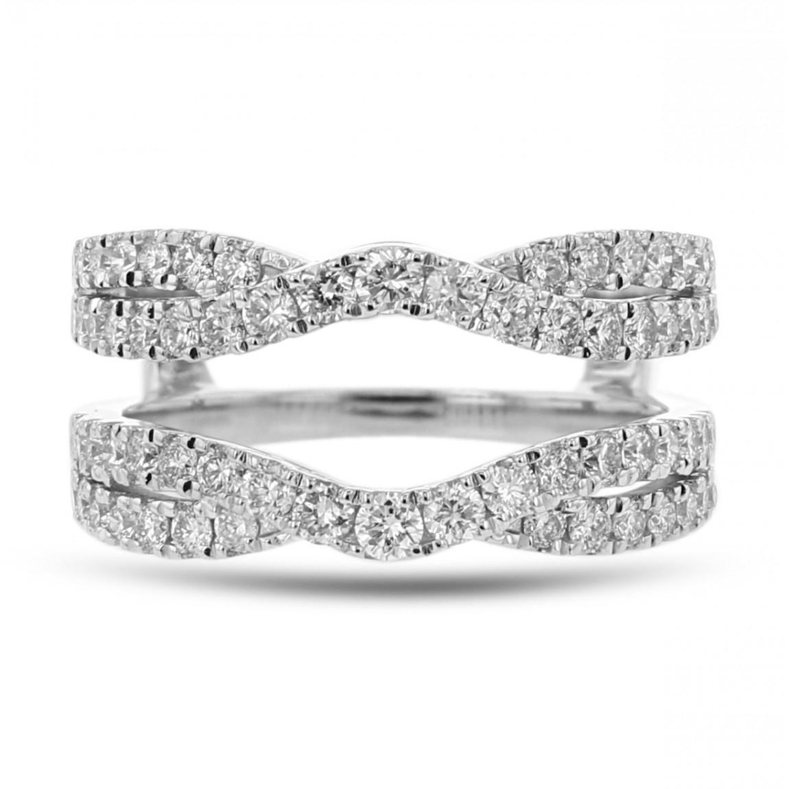 Diamond Cradle Wedding Band, Ring Enhancer, Split Shoulder, 14K White Gold,   (View 11 of 25)