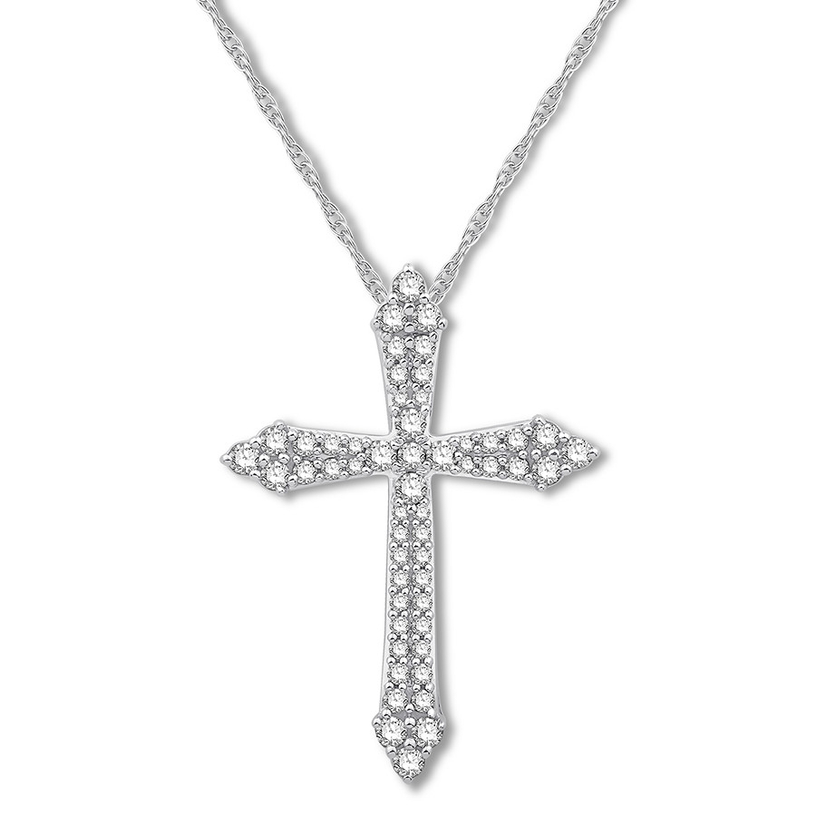 Diamond Cross Necklace 1/2 Ct Tw Round Cut 14k White Gold Regarding Current Sparkling Cross Pendant Necklaces (View 11 of 25)