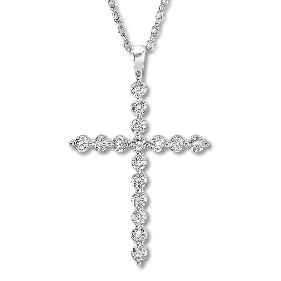Diamond Cross Necklace 2 Carats Tw Round 14k White Gold – 714361502 In Most Recently Released Sparkling Cross Pendant Necklaces (View 12 of 25)