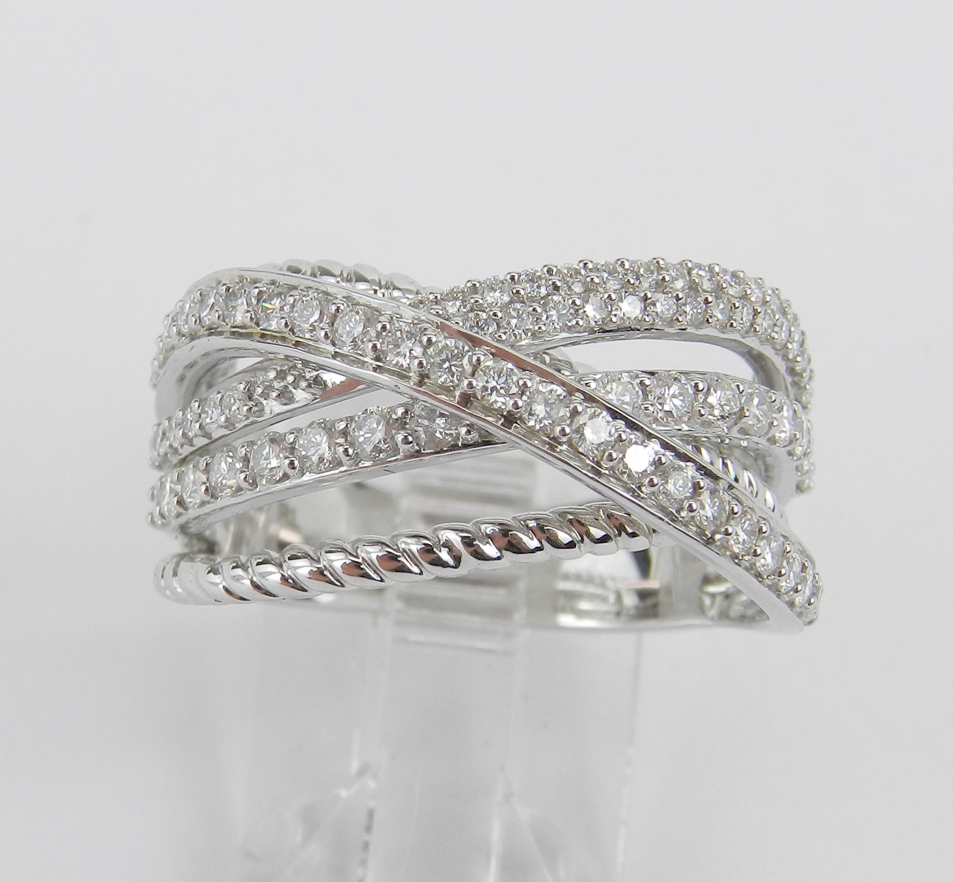 Diamond Crossover Ring, Anniversary Ring, 14K White Gold In Most Recent Diamond Multi Row Anniversary Bands In White Gold (View 14 of 25)
