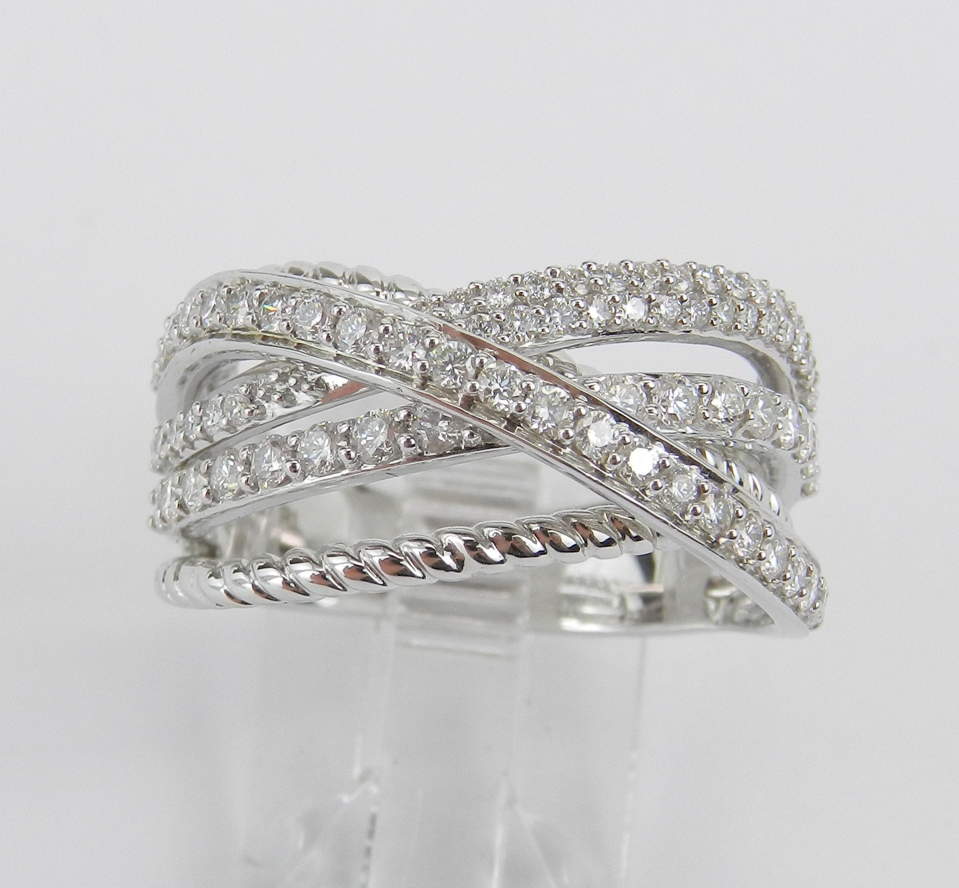 Diamond Crossover Ring, Anniversary Ring, 14k White Gold Throughout Most Up To Date Diamond Multi Row Anniversary Rings In White Gold (View 4 of 25)