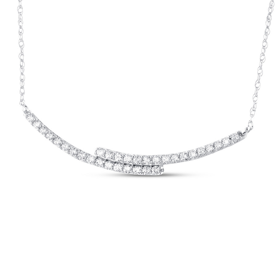 Diamond Curved Bar Necklace 1/3 Ct Tw Round Cut 10k White Gold Regarding Latest Sparkling Curved Bar Necklaces (View 8 of 25)
