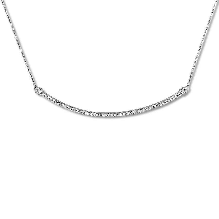 Diamond Curved Bar Necklace 1/4 Ct Tw Round Cut 14k White Gold Within Best And Newest Sparkling Curved Bar Necklaces (View 5 of 25)