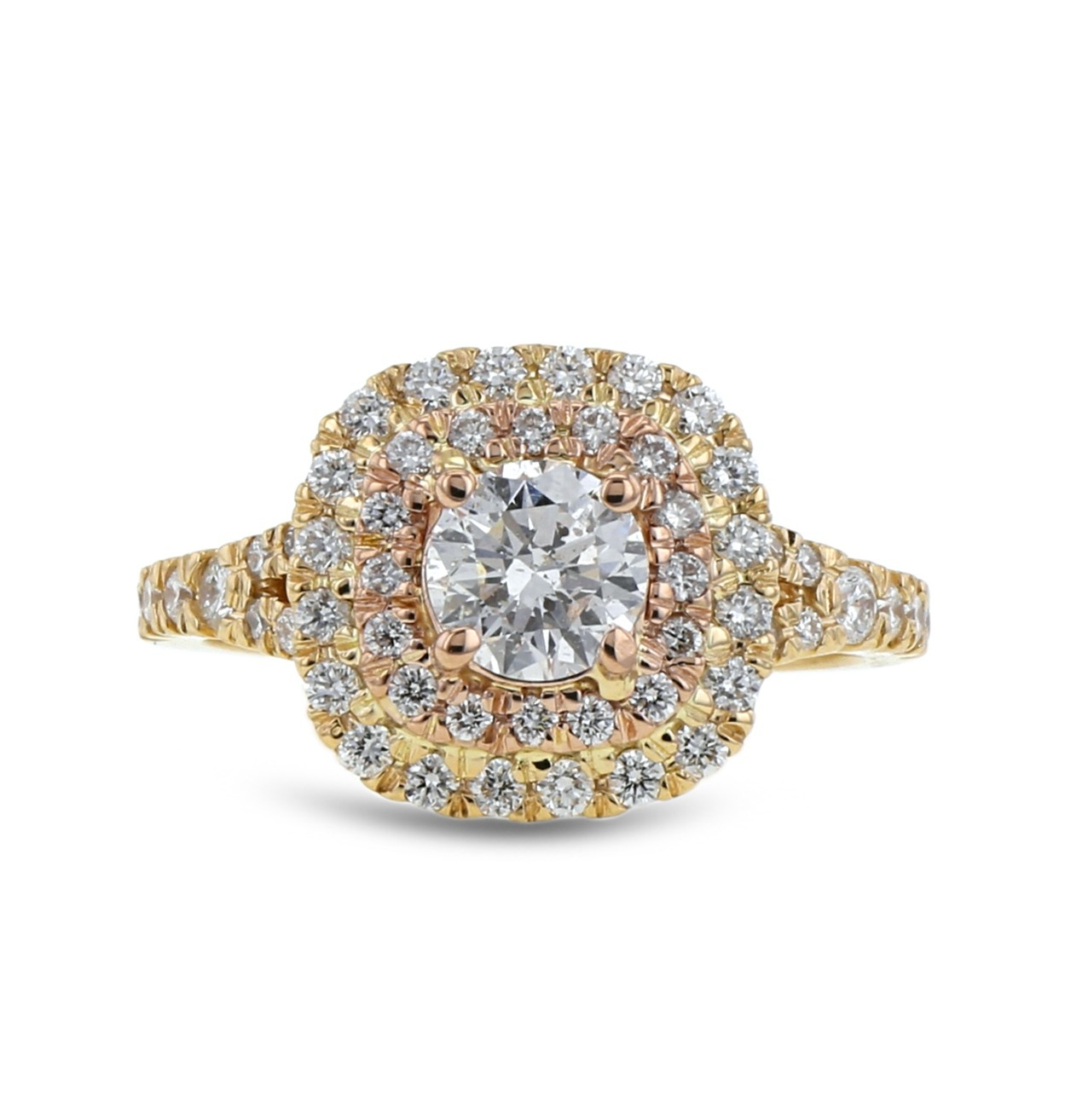 Diamond Double Halo Engagement Ring, Round, 14k Yellow And Rose Gold, .72ct, (View 14 of 25)