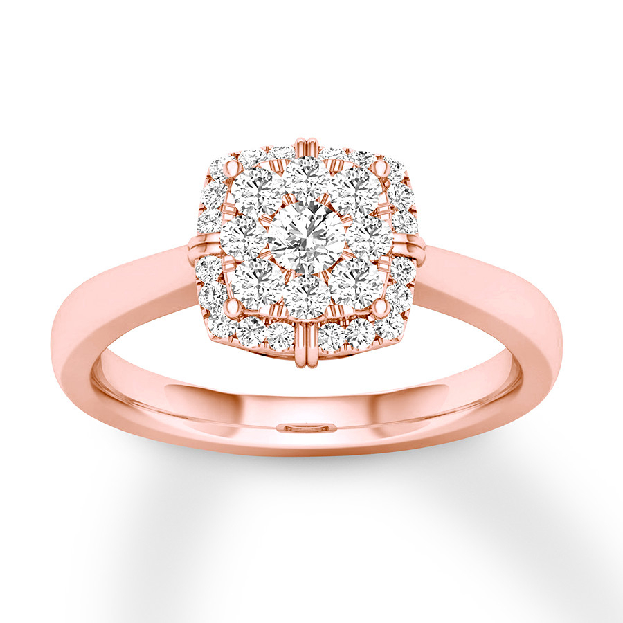 Diamond Engagement Ring 1/4 Ct Tw Round Cut 10k Rose Gold For Recent Simple Sparkling Band Rings (View 14 of 25)