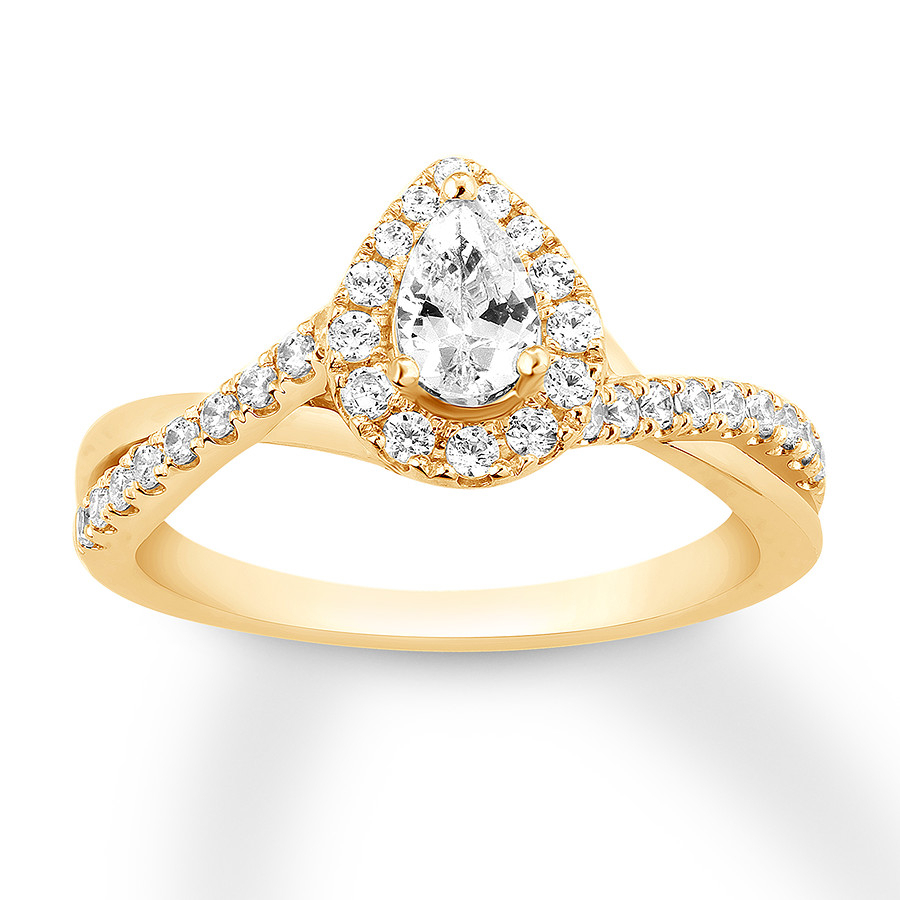 Diamond Engagement Ring 7/8 Carat Tw Pear Shaped 14K Gold Throughout Most Current Sparkling Teardrop Halo Rings (View 1 of 25)