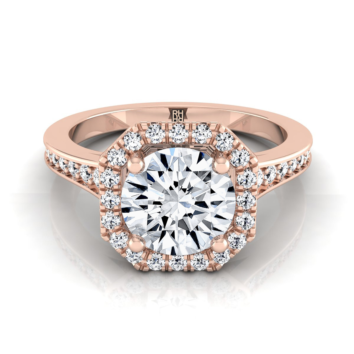 Diamond Engagement Ring With Octagon Halo Frame With Pave Shank In 14K Rose  Gold (1/3 Ct.tw (View 10 of 25)