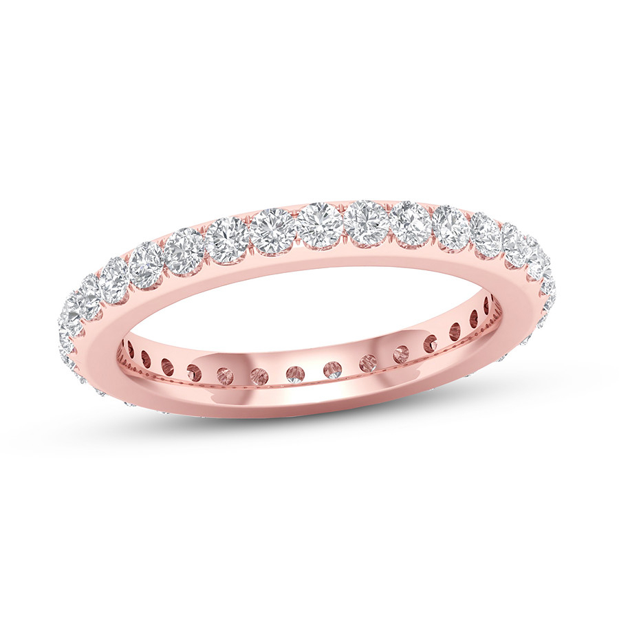 Diamond Eternity Band 1 Ct Tw Round 14k Rose Gold Throughout Newest Elegant Pavé Band Rings (View 15 of 25)