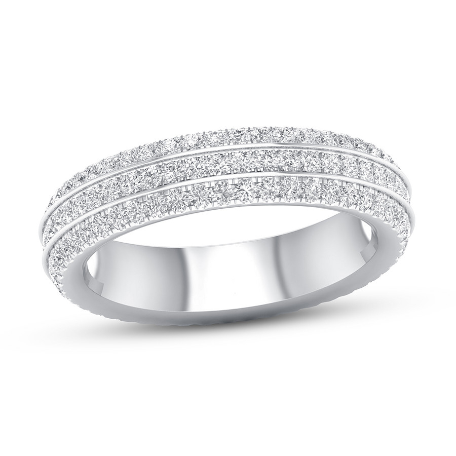 Diamond Eternity Ring 1 Ct Tw Round 14k White Gold Pertaining To Current Sparkling Pavé Band Rings (View 16 of 25)
